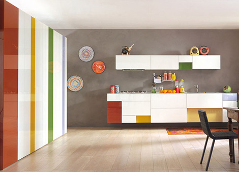 Cheerful colors kitchen expressed in array of hues cool lines and modular design kitchen - Decorating ideas cheerful kitchen ...