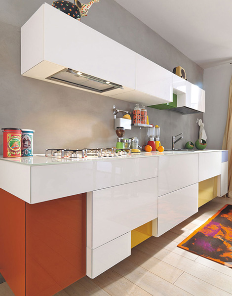 cheerful colors kitchen expressed in array of hues cool line modular design