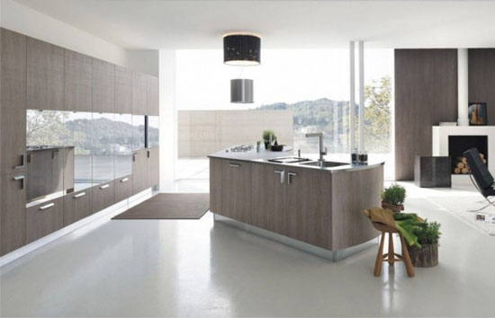 clean kitchen designs with silver or extra-white satin-finish edging by MILLY