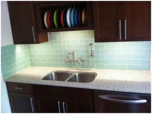 colorful modern tile backsplash Beautiful Glass Kitchen Tiles With Cleany Sink And Modern Faucets Also Impressive Storage modern backsplash