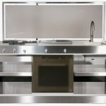 compact kitchen comes wrapped in a modern metal for contemporary homes by Jcorradi