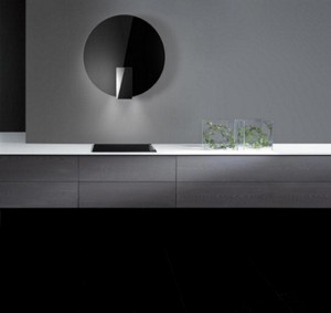 concave wall futuristic vent hood design by David Lewis Elica Collection