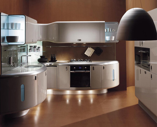 condo kitchen design ideas with curved lines of moderns Americana kitchen