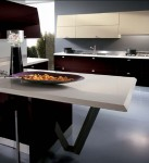 contemporary kitchen expanses drawn bold color topped with smooth stainless steel