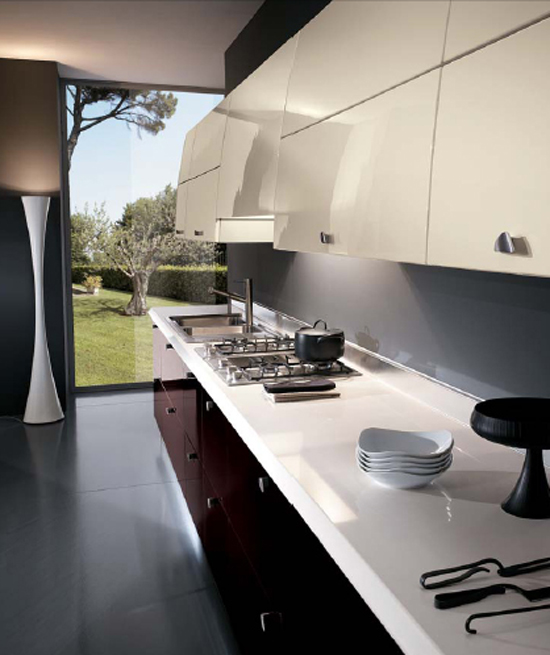contemporary kitchen expanses drawn of bold color topped with smooth stainless steels