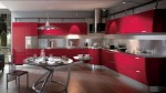 contemporary kitchen expanses drawn of bold colors topped with smooth stainless steel