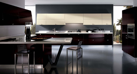 contemporary kitchens expanses drawn of bold colors topped with smooth stainless steel