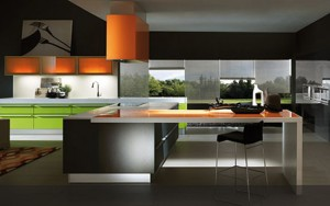 cool kitchen with orange glass glacier white Corian and sharp green lacquered surfaces