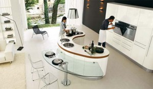 curved kitchen island with custom cabinetry give ergonomic kitchens design