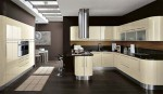 curved kitchens island with custom cabinetry give ergonomic kitchens design