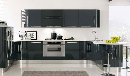 curved kitchens island with custom cabinetry give ergonomic kitchens designs