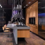 deep grey color kitchen marble perfectly stainless steel ceiling mounted overhead rack