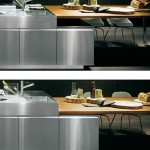 deep grey kitchen color perfectly by the stainless steel ceiling-mounted overhead rack look linear fresh
