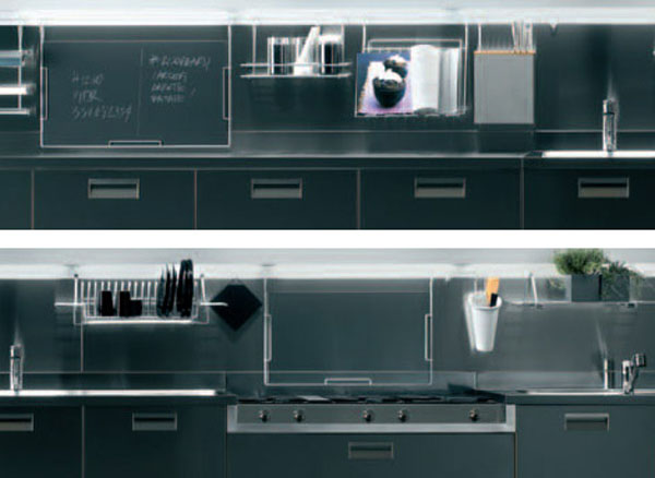 deep grey kitchen color perfectly by the stainless steel ceiling-mounted overhead rack looks linear fresh