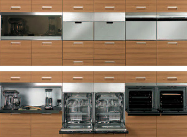deep grey kitchens color perfectly by the stainless steel ceiling-mounted overhead rack looks linear fresh