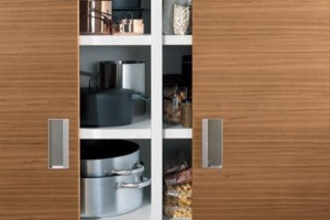 deep grey kitchens colors perfectly by the stainless steel ceiling-mounted overhead rack look linear and fresh