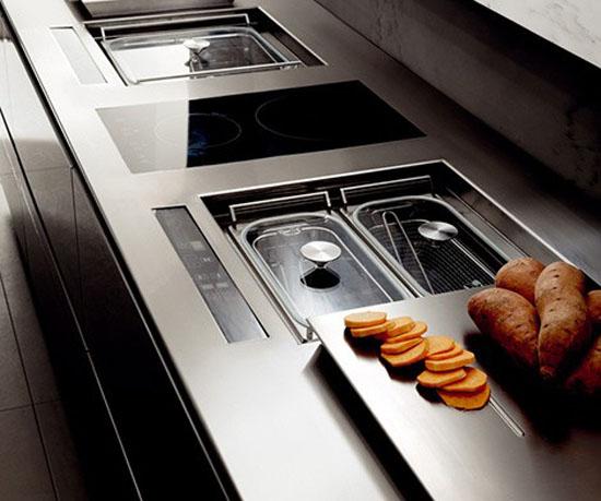 distinctive rectangular ventilation hood LED Illumination kitchens lighting from Toncelli