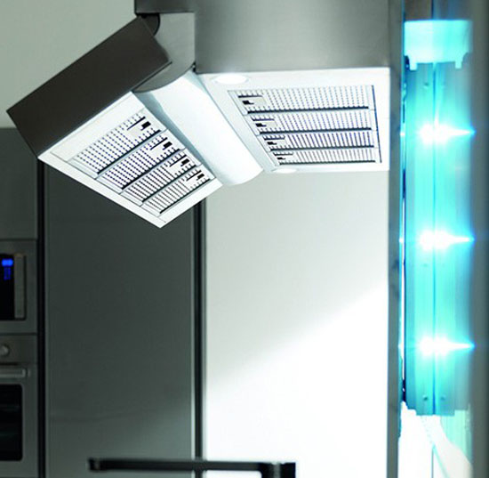 distinctive rectangular ventilation hood with LED Illumination kitchens lighting Toncelli