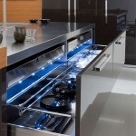 elegant kitchen design blue lighting