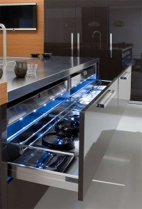 elegant kitchen design blue lighting