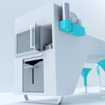 ergonomic design kitchen concept with a blue color style