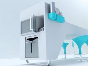 ergonomic design kitchen concept with a blue color style