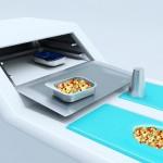ergonomic design kitchen concept with a bright blue color