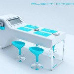 ergonomic design kitchen concept with a bright blue color style