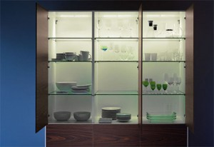 exclusive kitchen design back splash area above the sink and worktop illuminated