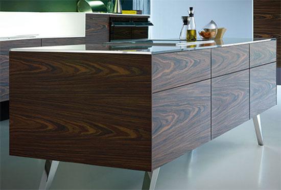 exclusive kitchen design back splash area above the sink worktop is illuminated