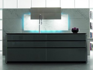 eye-catching elements kitchen with LED Illumination from Toncelli creates mood available in a range of finishes