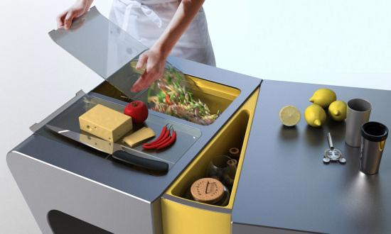 flexible kitchen table Integrating food drawers on the right and left side