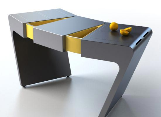 flexible kitchen table Integrating food drawers on the right and left sides