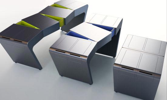 flexible kitches table Integrating food drawers on the right and left side