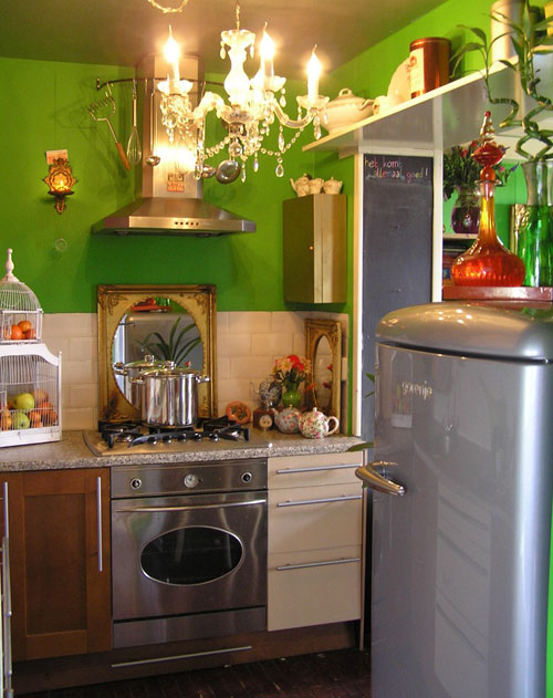 funky small kitchen with green wall  funky small kitchen with green