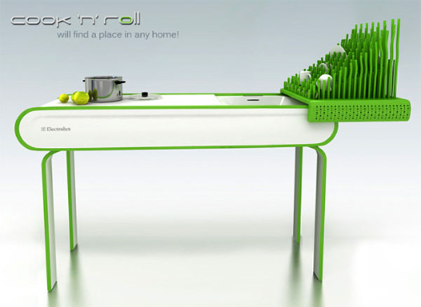 future kitchen concept furniture waterless dishwashing technology