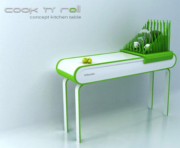 future kitchen concept furniture with waterless dishwashing technology