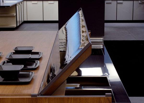 future kitchen remote controlled kitchen island design aluminum and walnut