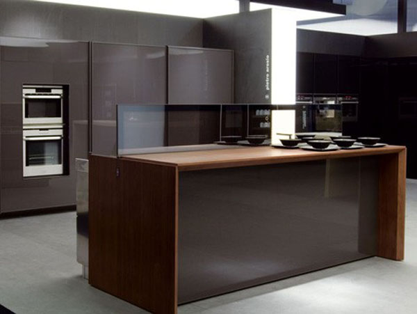 future kitchen remote controlled kitchen island design in aluminum and walnut
