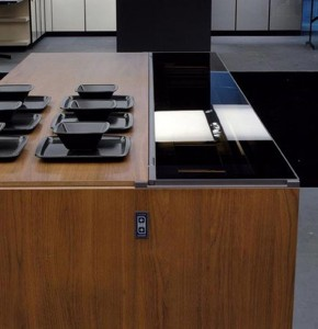 future kitchen remote controlled kitchen island design in aluminum walnut