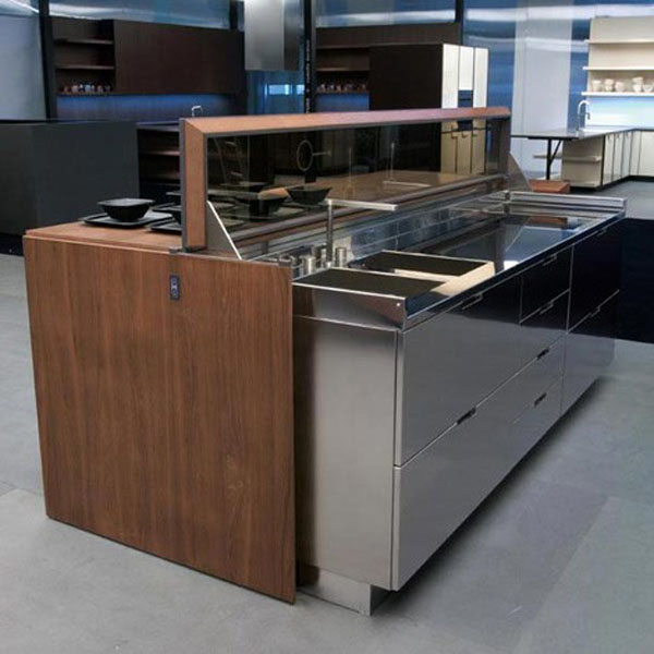future kitchen remote controlled kitchen island designs in aluminum and walnut