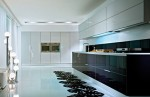 glass and wood kitchen soften minimal themes and lines by Pedini