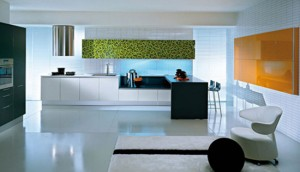 glass and wood kitchen softens minimal themes and lines by Pedini