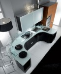 gleaming and glamorous kitchen with fluid sweeping workspaces by Fiamberti