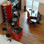 great collection Ferrari kitchen design dominated shiny red and white color