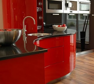 great collection Ferrari kitchen designs dominated shiny red and white color