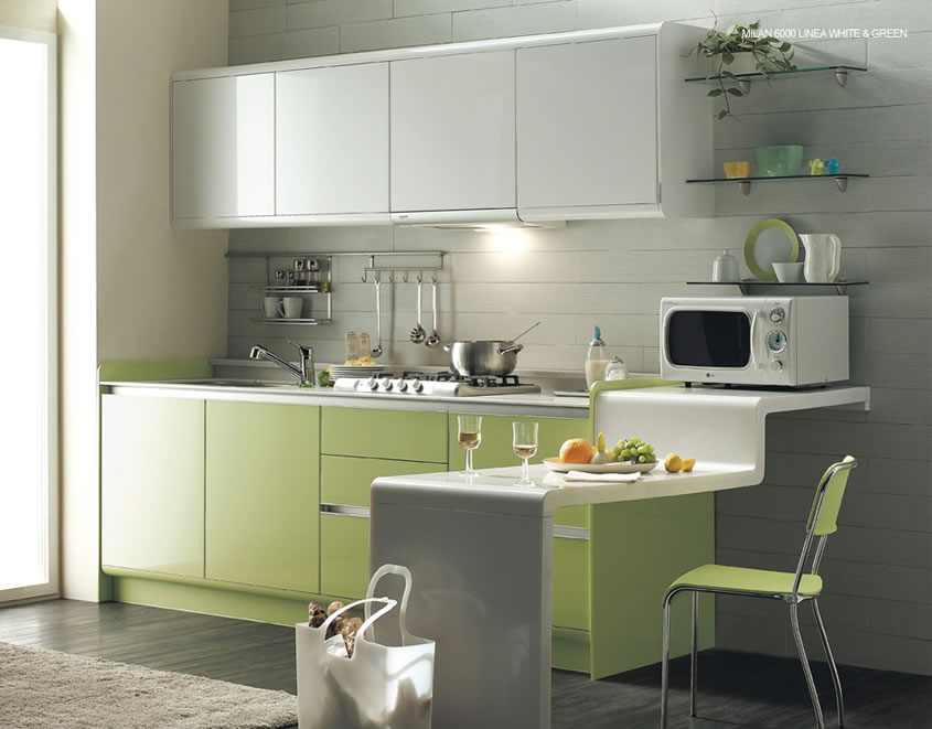Green kitchen is perfect choice for a kitchen wall and for Kitchen ideas and colors