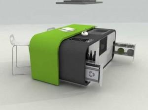Green White Modern kitchen design