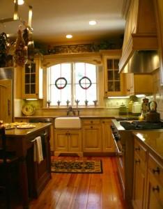hanging utensil rack of modern country kitchen