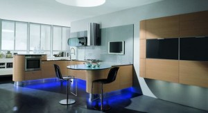 help your apartment with curved kitchen cabinets built-in lights